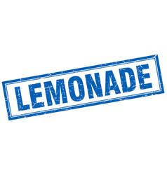 Lemonade blue square grunge stamp on white vector