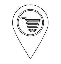 map pin pointer with shopping cart sign icon vector image