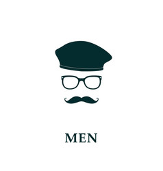 Men french beret and mustache icon vector
