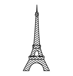 Monochrome silhouette of eiffel tower to striped vector