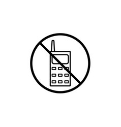 no phone line icon prohibition sign forbidden vector image
