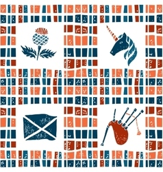 Plaid fabric seamless pattern scottish set vector