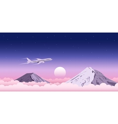 Plane above clouds vector