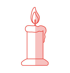 Red shading silhouette of candle lit vector