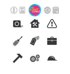 repair construction icons helmet screwdriver vector image
