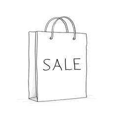 Sale bag icon Sketch in doodle style vector image