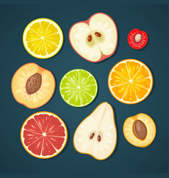 set fruits color flat vector image vector image