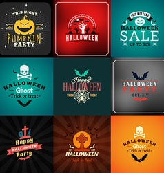 Set of Retro Happy Halloween Badges Design Element vector image vector image