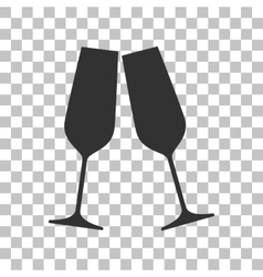 Sparkling champagne glasses Dark gray icon on vector image vector image