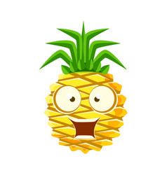 Surprised funny pineapple with big eyes cute vector