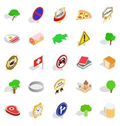 switzerland icons set isometric style vector image vector image