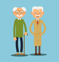 two elderly man vector image vector image