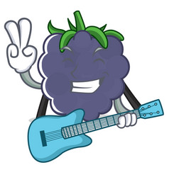 With guitar blackberry character cartoon style vector