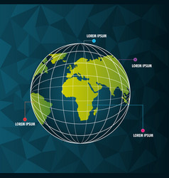 world infographic globe pointer differents country vector image