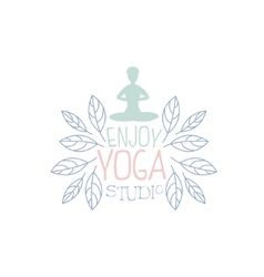 Yoga practice hand drawn promotion sign vector