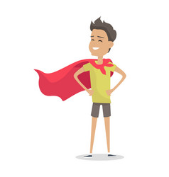 Young boy in superman pose wearing a red cloak vector