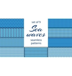 Blue sea waves patterns collection vector
