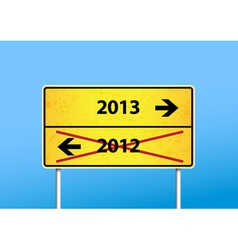 Yellow sign with 2013 direction vector