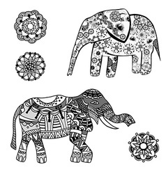 Abstract elephant icon set vector