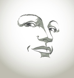 Facial expression hand-drawn of face of girl with vector