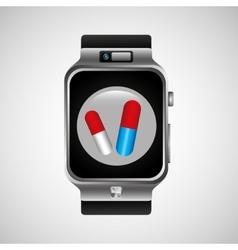 Smart watch health technology medication design vector