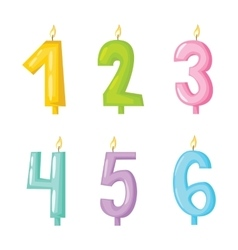 Candle numbers with fire vector