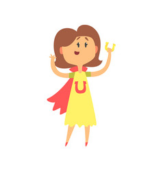 Cute cartoon woman standing and holding horeshoe vector