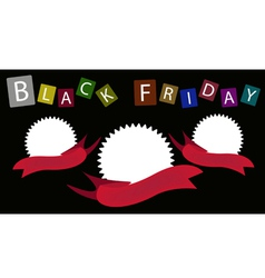 Three round banners on black friday background vector