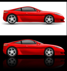 Red sports car taxi on white and black background vector
