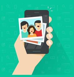 Photo gallery on mobile phone flat cartoon photo vector