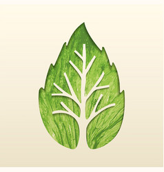 Tree leaf concept design for environment help vector