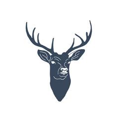 Hand drawn vintage label with textured deer vector