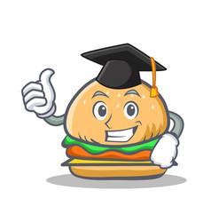 Graduation burger character fast food vector
