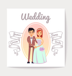 Cartoon married or engaged couple bride and groom vector