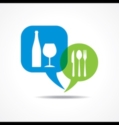 Restaurant forks and wine glass in message bubble vector