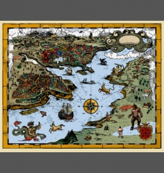 Antique fantasy map vector