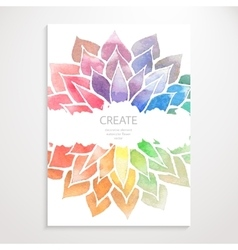 Watercolor rainbow flowers poster vector