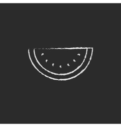 Watermelon icon drawn in chalk vector