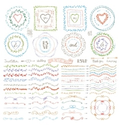 Doodle framebrusheswreath decor setpastel vector