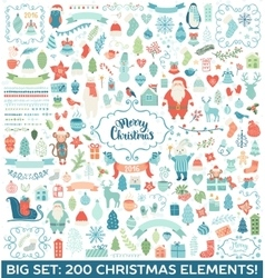 Christmas decoration big collection vector
