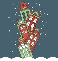 Christmas card winter city vector