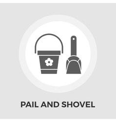 Pail and shovel flat icon vector