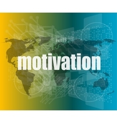 words motivation on digital screen job and vector image