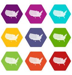 american map icon set color hexahedron vector image