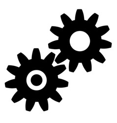 Black gears icon on white background eps vector