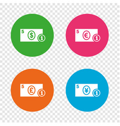 cash money signs dollar euro and pound icons vector image vector image