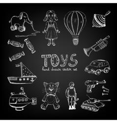 Chalkboard cartoon toys vector image vector image