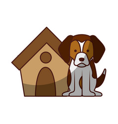 Cute dog mascot with house vector