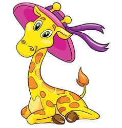 cute giraffe hat white background vector image vector image