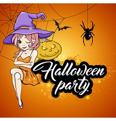 Cute young witch and pumpkin on orange background vector image